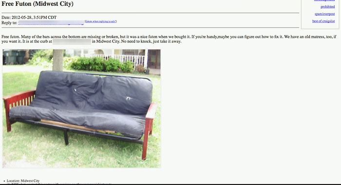 because today i u0027d just like to share this little gem i came across on craigslist recently  it seriously made me laugh out loud  craigslist fun   free futon    abi ruth  rh   abiruth
