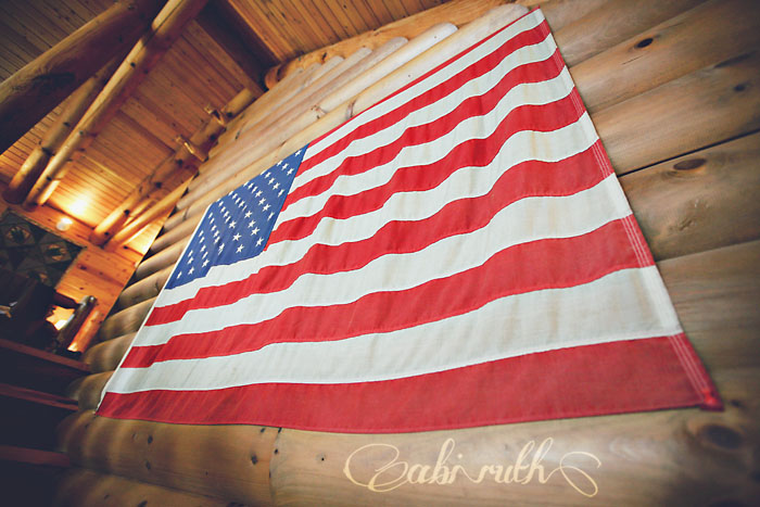american flag in cabin