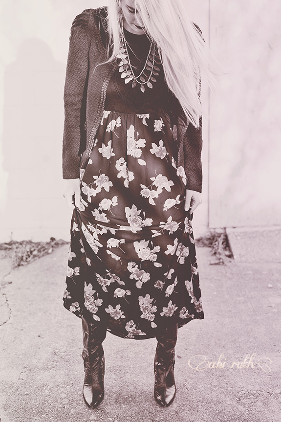 thrifted black floral maxi dress outfit 1