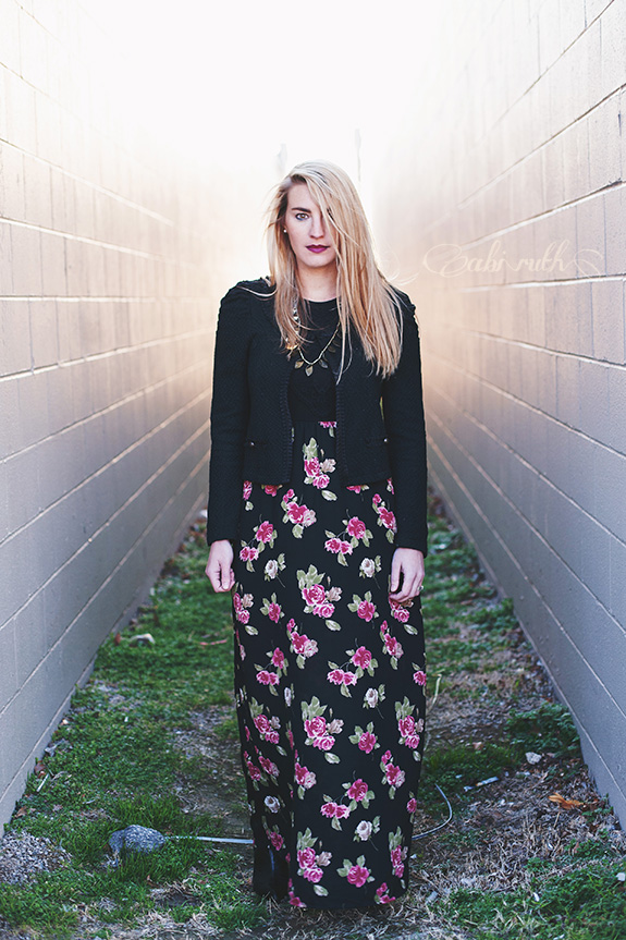 thrifted black floral maxi dress outfit 4