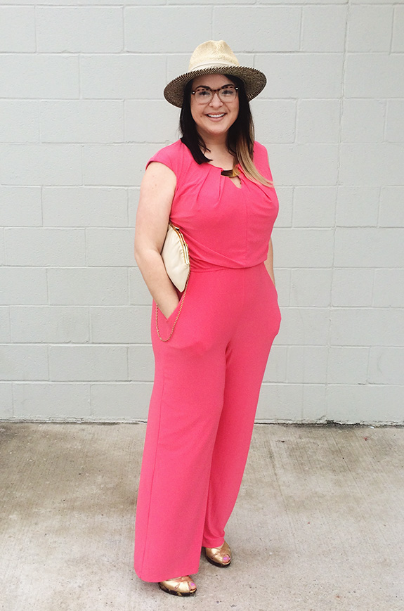coral jumpsuit easter outfit