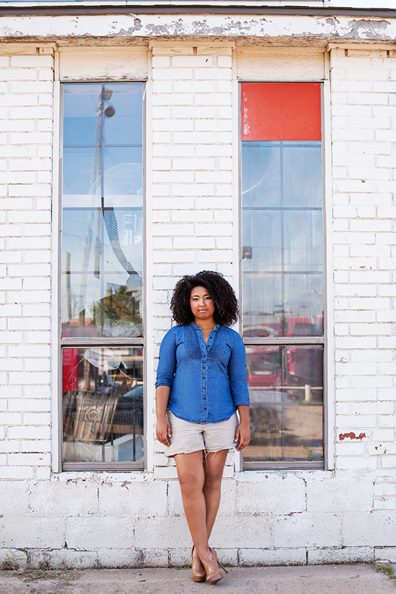 denim and linen thrifted outfit 027