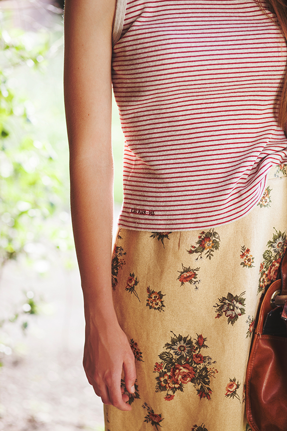 floral and stripes seasonal transition outfit 104