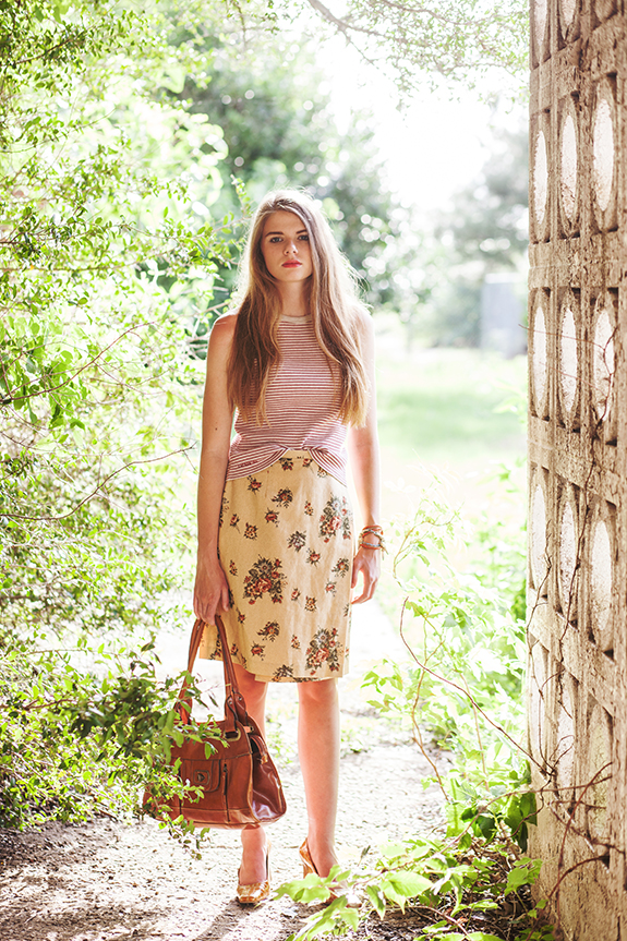 floral and stripes seasonal transition outfit 110