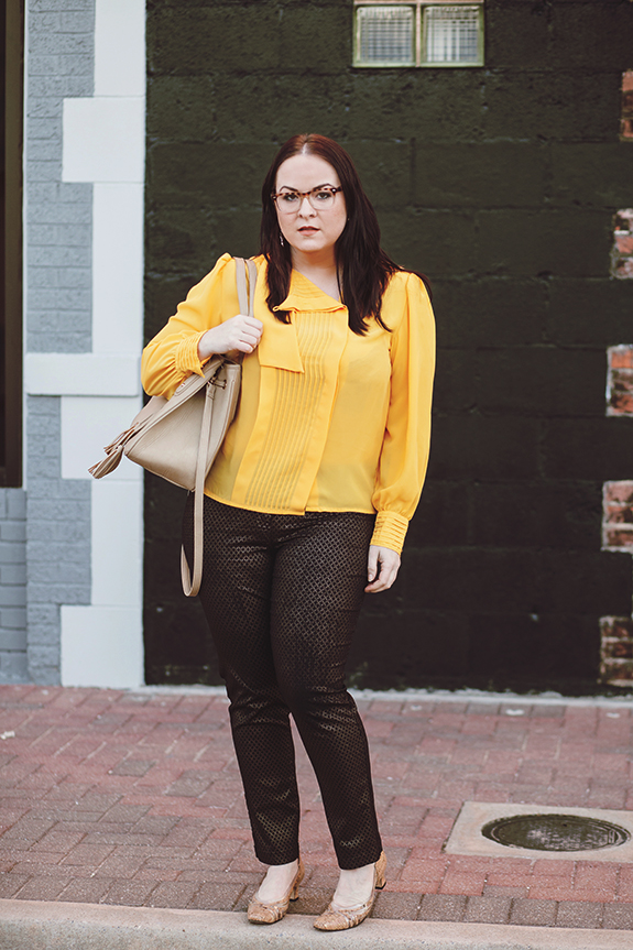 011 yellow blouse black gold pants outfit