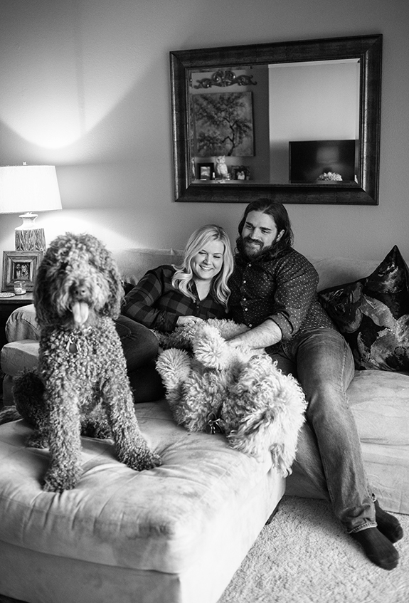 002 engagement photos with dogs at home